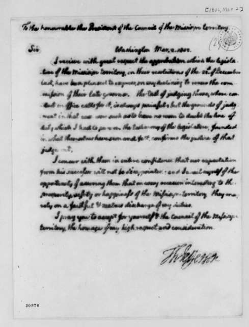 Thomas Jefferson to Mississippi Territory Speaker of the House, March 2, 1802