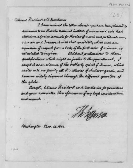 Thomas Jefferson to National Institute, November 14, 1802, Science and Arts
