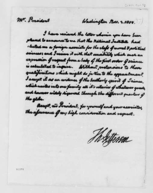 Thomas Jefferson to National Institute, November 3, 1802, Science and Arts