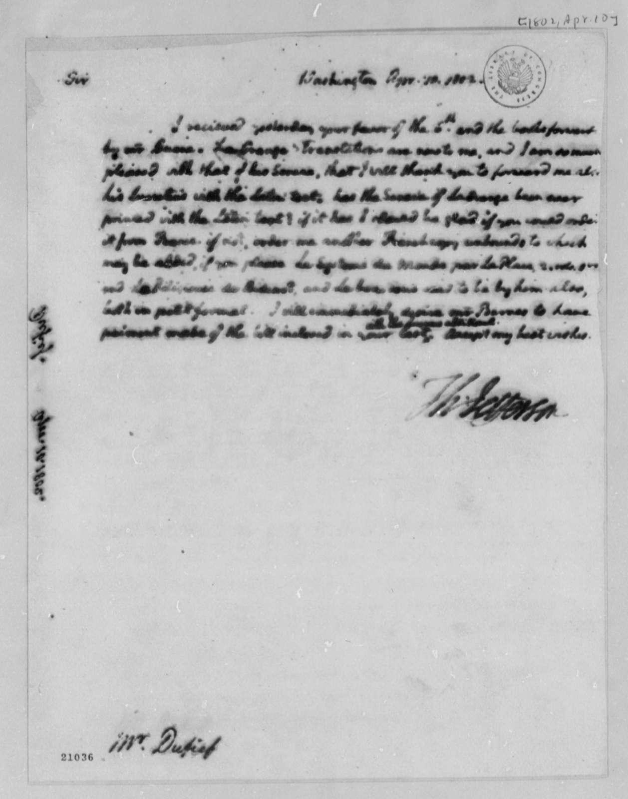 Thomas Jefferson to Nicholas Gouin Dufief, April 10, 1802