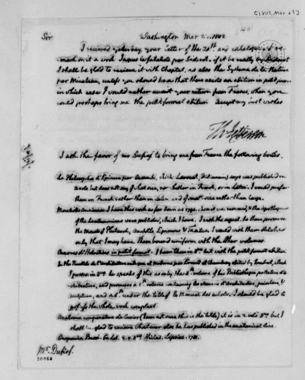 Thomas Jefferson to Nicholas Gouin Dufief, March 23, 1802