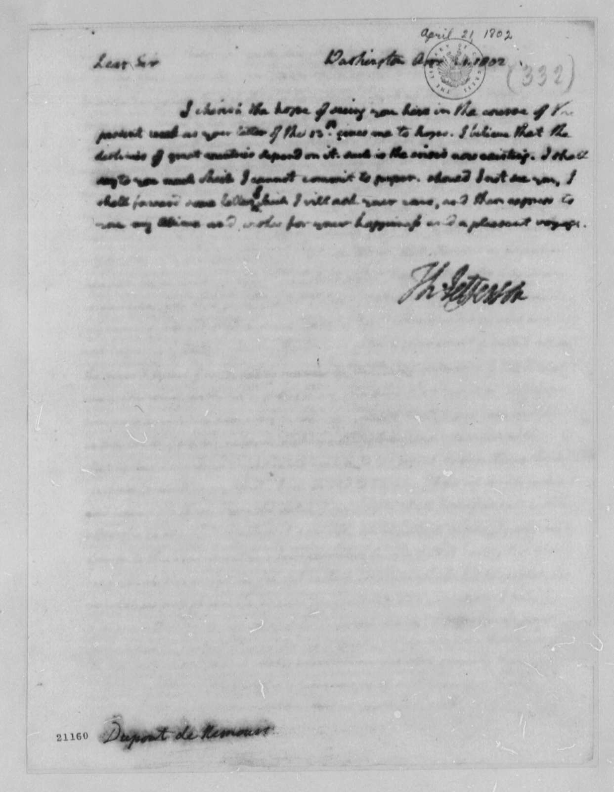 Thomas Jefferson to Pierre S. Dupont de Nemours, April 21, 1802