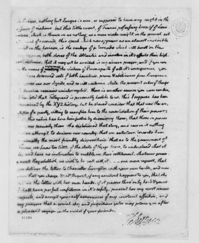 Thomas Jefferson to Pierre S. Dupont de Nemours, April 25, 1802