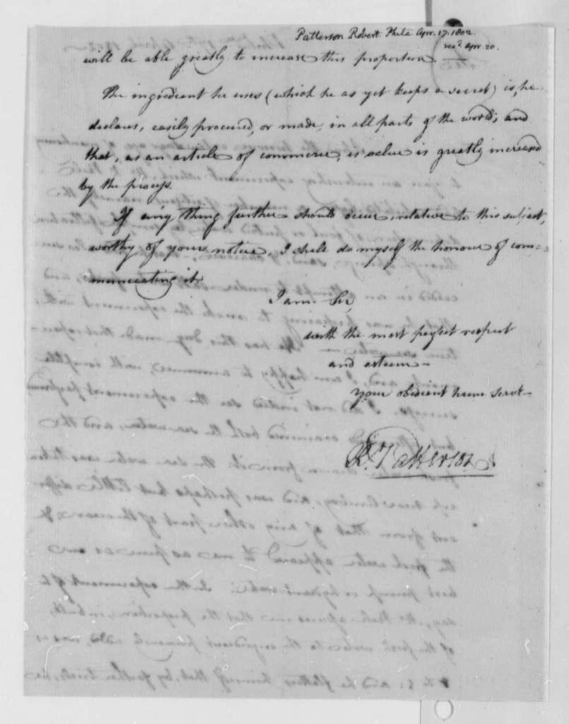 Thomas Jefferson to Robert Patterson, April 17, 1802