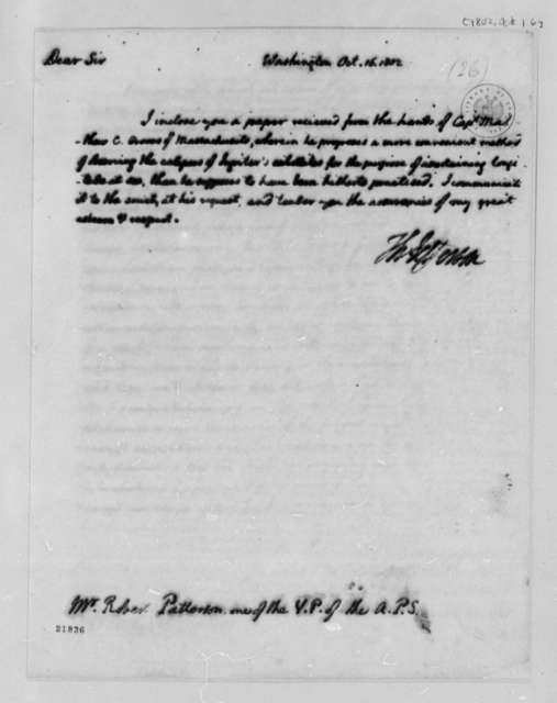 Thomas Jefferson to Robert Patterson, October 16, 1802