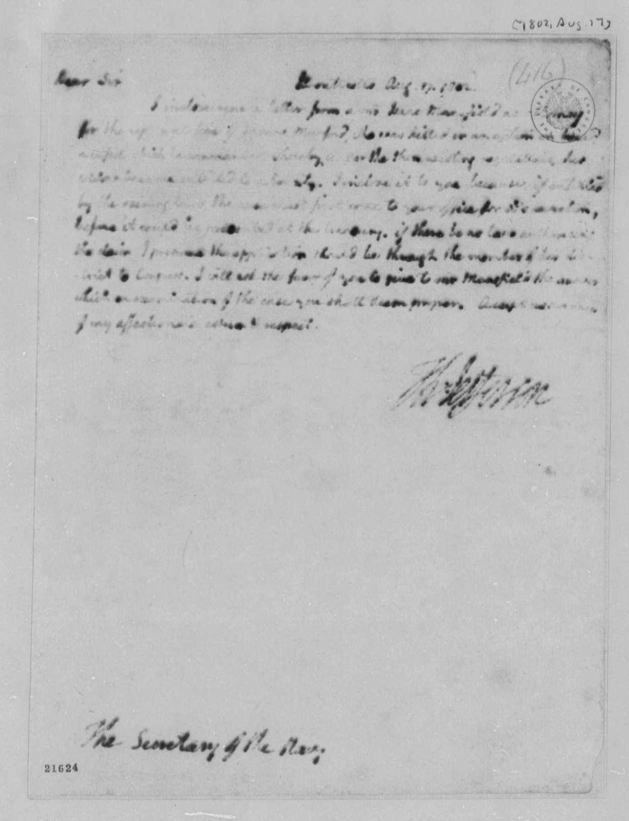 Thomas Jefferson to Robert Smith, August 17, 1802