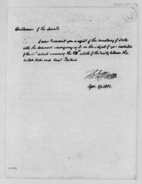 Thomas Jefferson to Senate, April 17, 1802