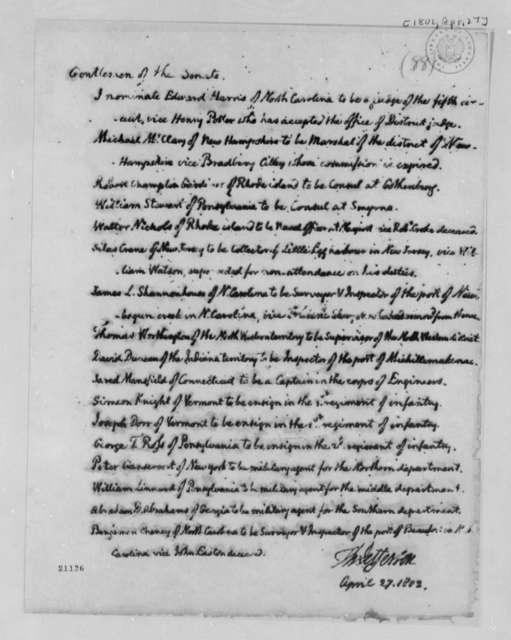 Thomas Jefferson to Senate, April 27, 1802