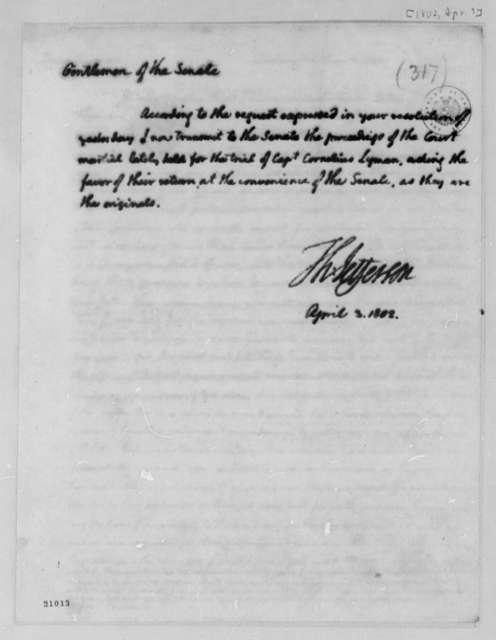 Thomas Jefferson to Senate, April 3, 1802