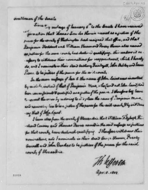 Thomas Jefferson to Senate, April 5, 1802