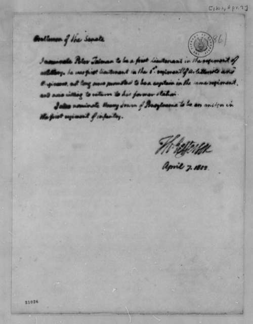 Thomas Jefferson to Senate, April 7, 1802