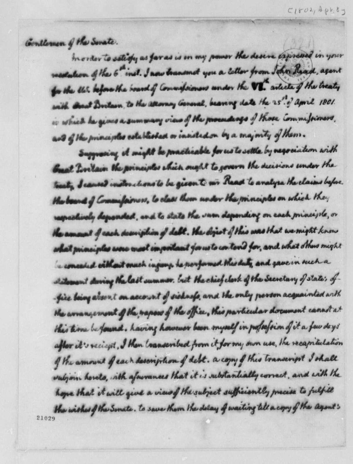 Thomas Jefferson to Senate, April 8, 1802