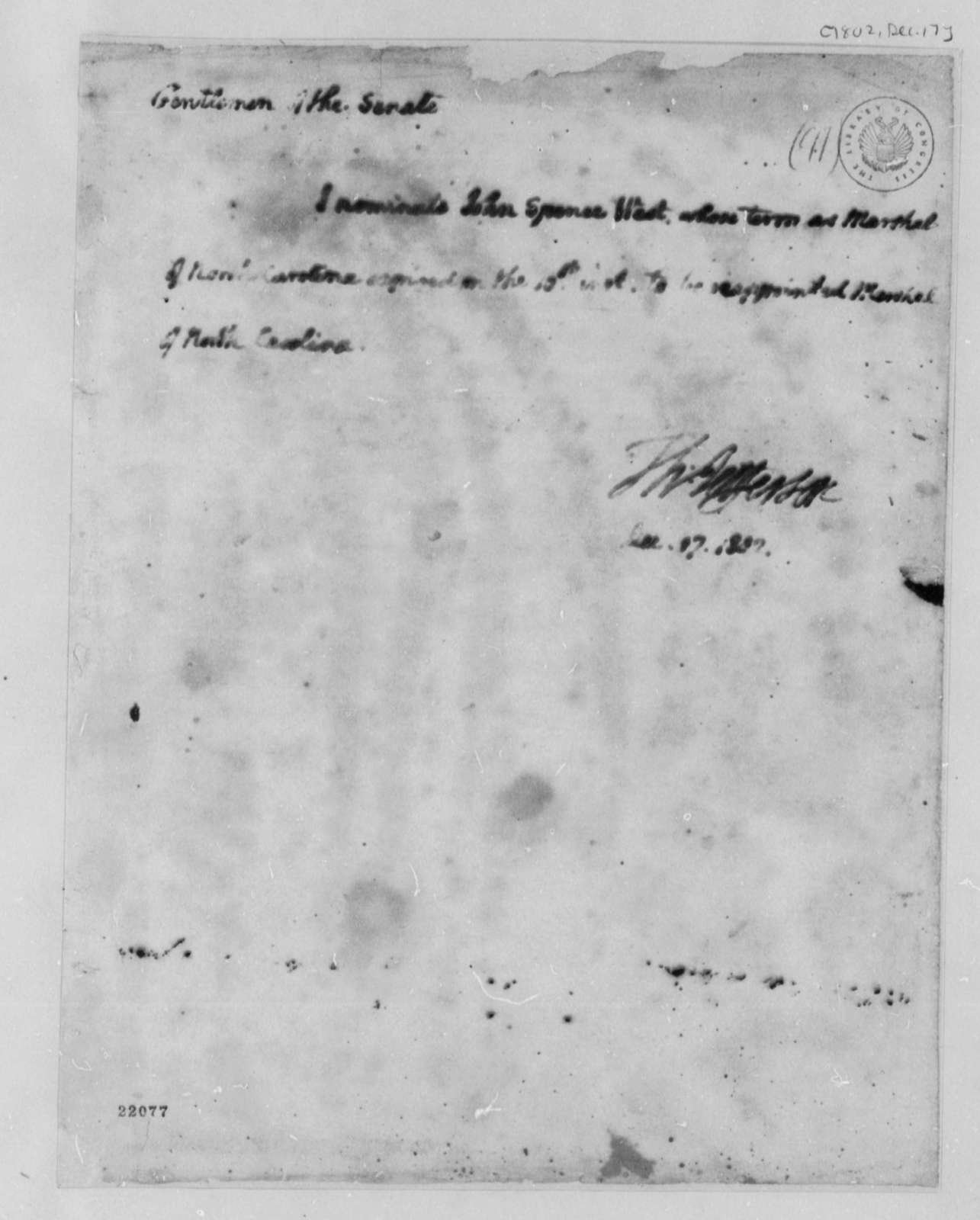Thomas Jefferson to Senate, December 17, 1802