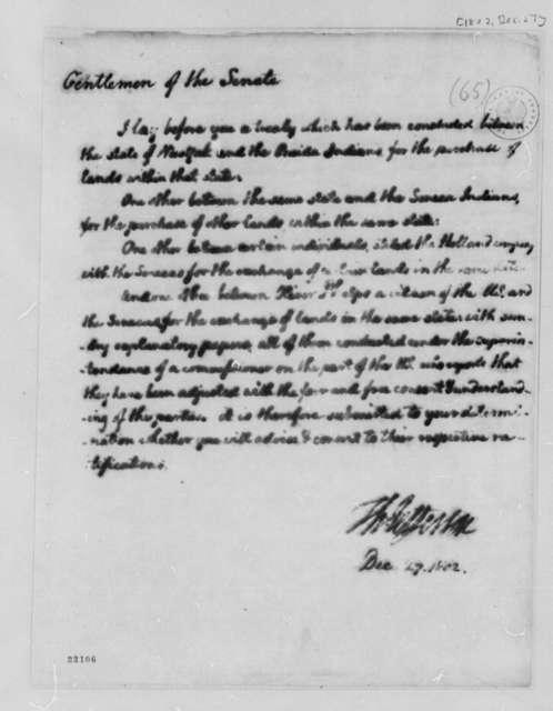 Thomas Jefferson to Senate, December 27, 1802