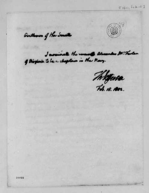 Thomas Jefferson to Senate, February 18, 1802