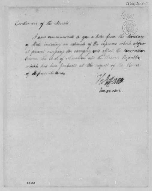 Thomas Jefferson to Senate, January 12, 1802
