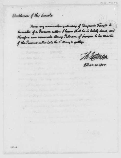 Thomas Jefferson to Senate, March 11, 1802