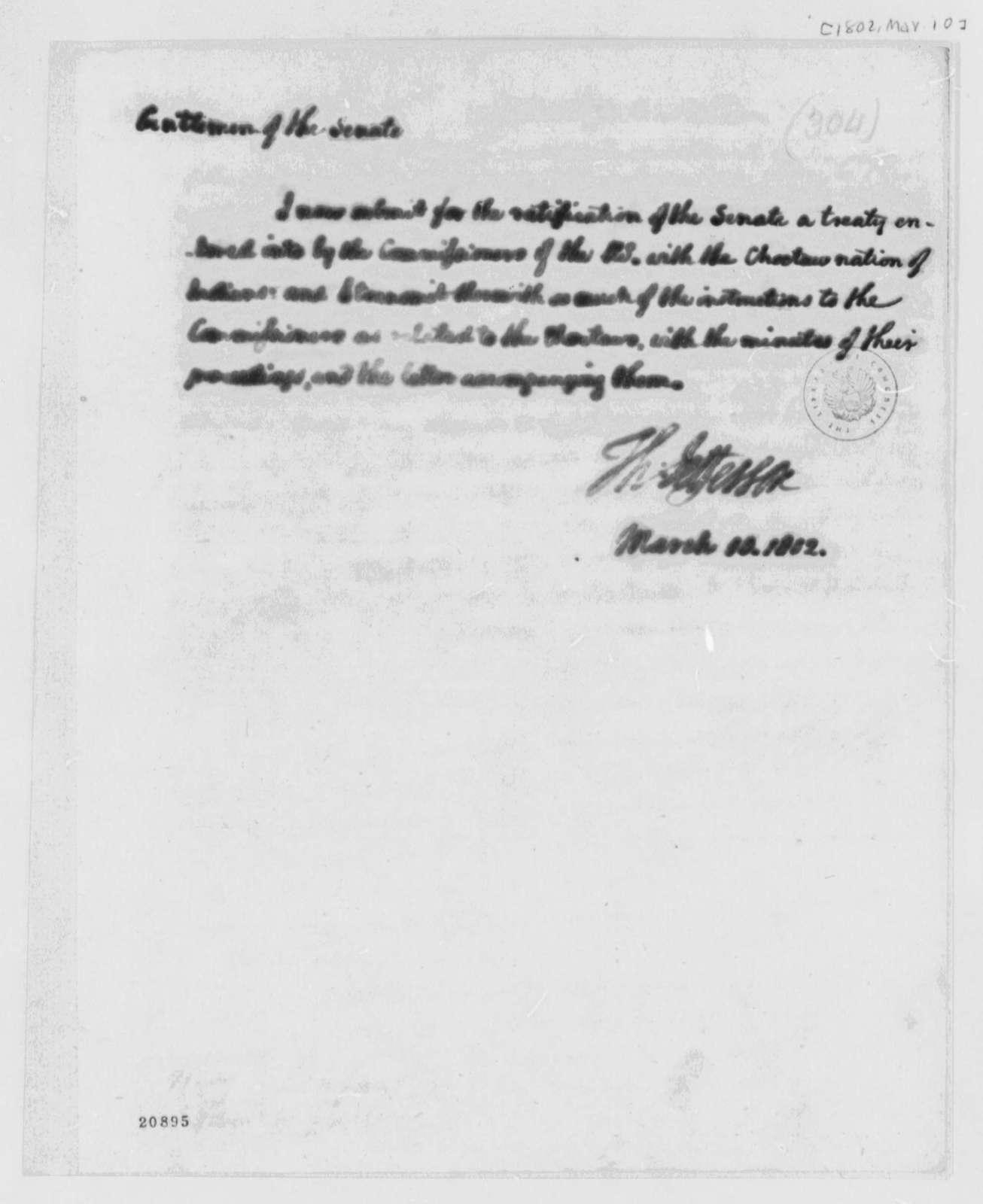 Thomas Jefferson to Senate, March 19, 1802