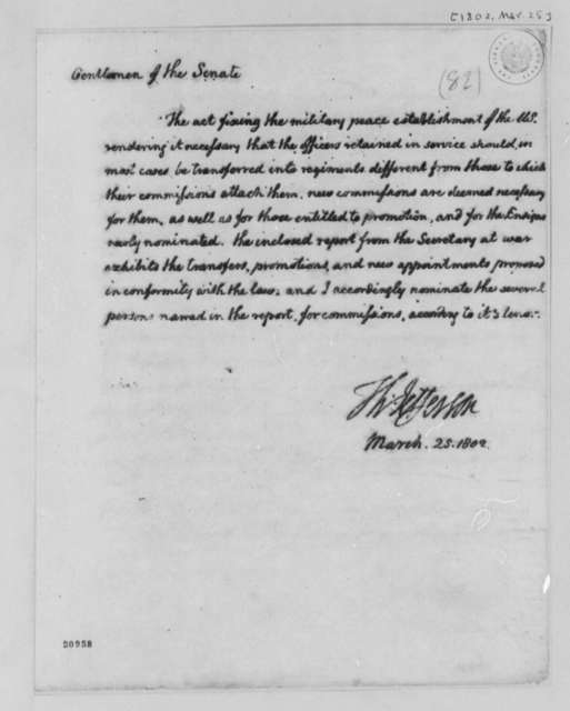 Thomas Jefferson to Senate, March 25, 1802