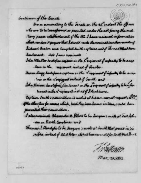 Thomas Jefferson to Senate, March 31, 1802