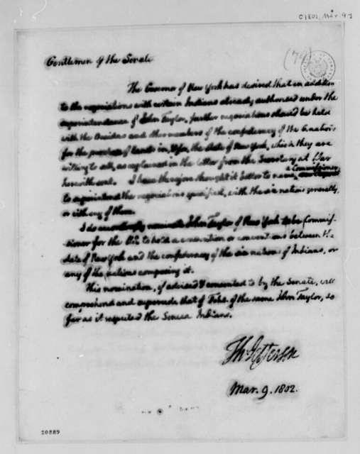 Thomas Jefferson to Senate, March 9, 1802