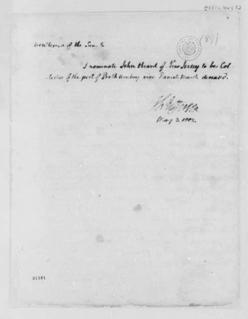 Thomas Jefferson to Senate, May 3, 1802