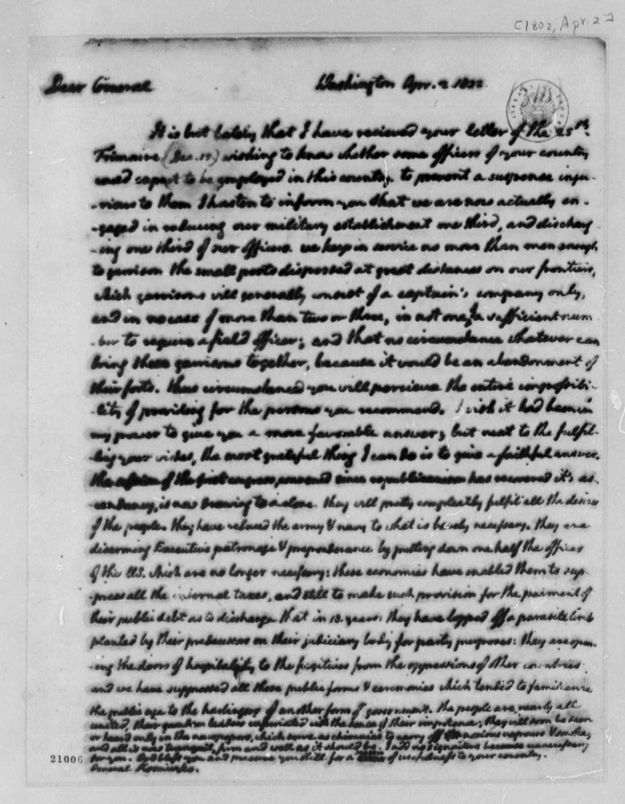 Thomas Jefferson to Thaddeus Kosciuszko, April 2, 1802