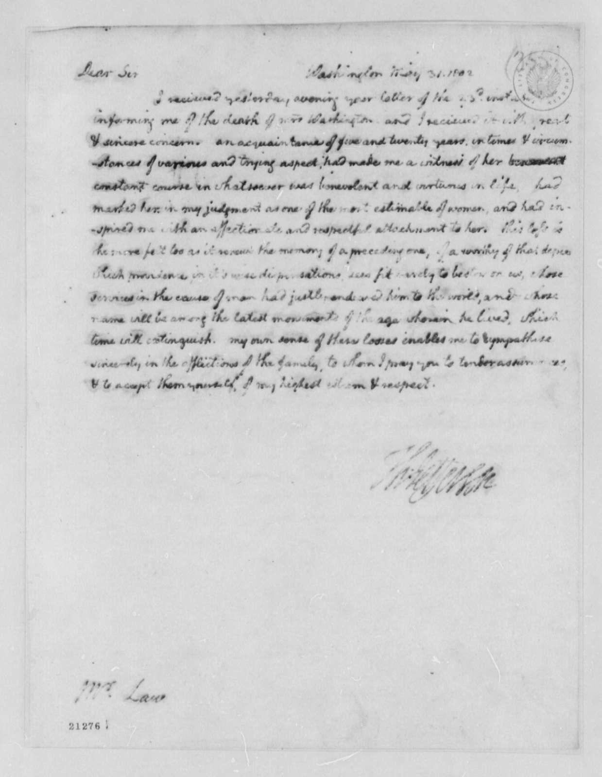 Thomas Jefferson to Thomas Law, May 31, 1802