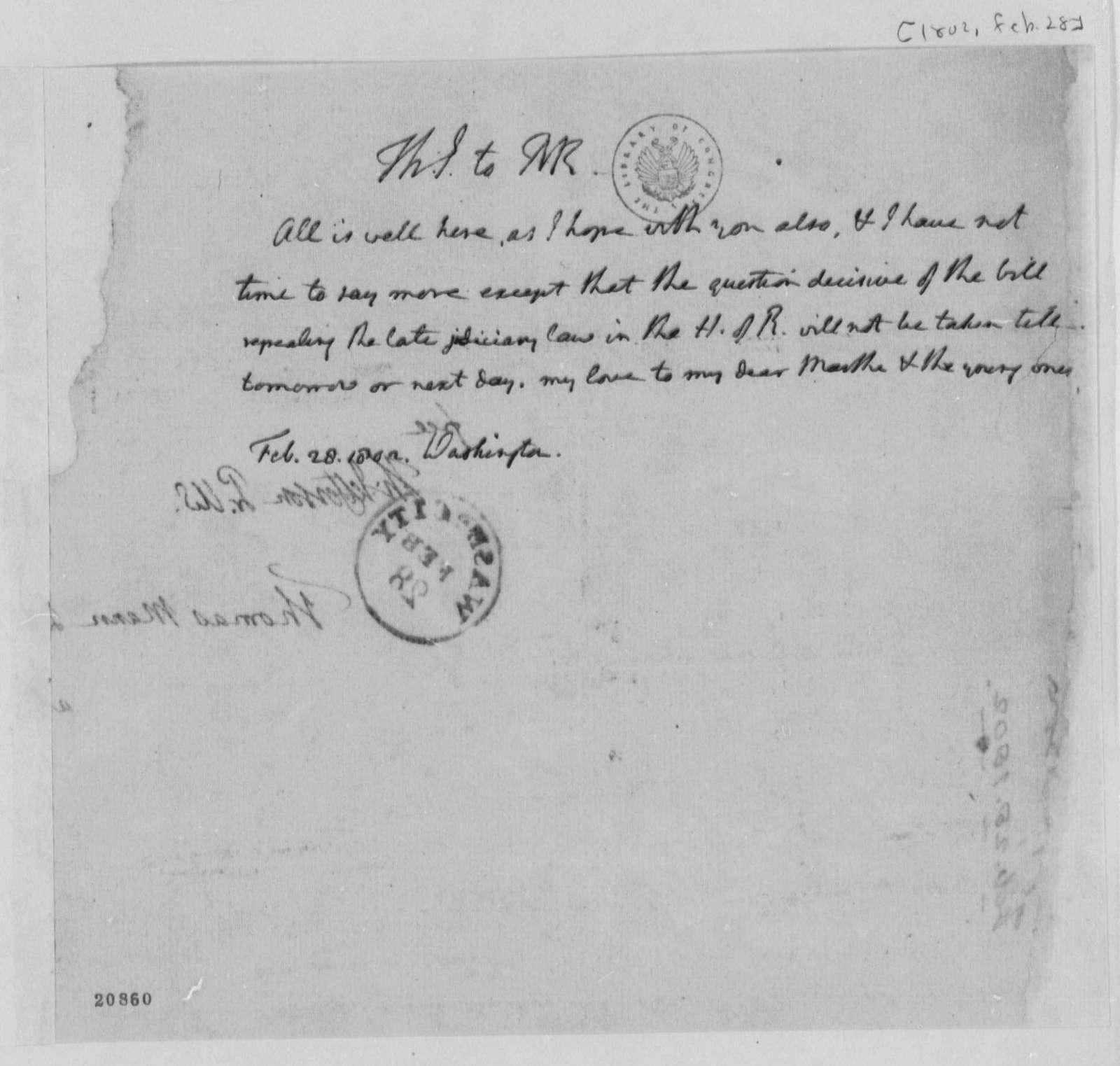 Thomas Jefferson to Thomas Mann Randolph, Jr., February 28, 1802