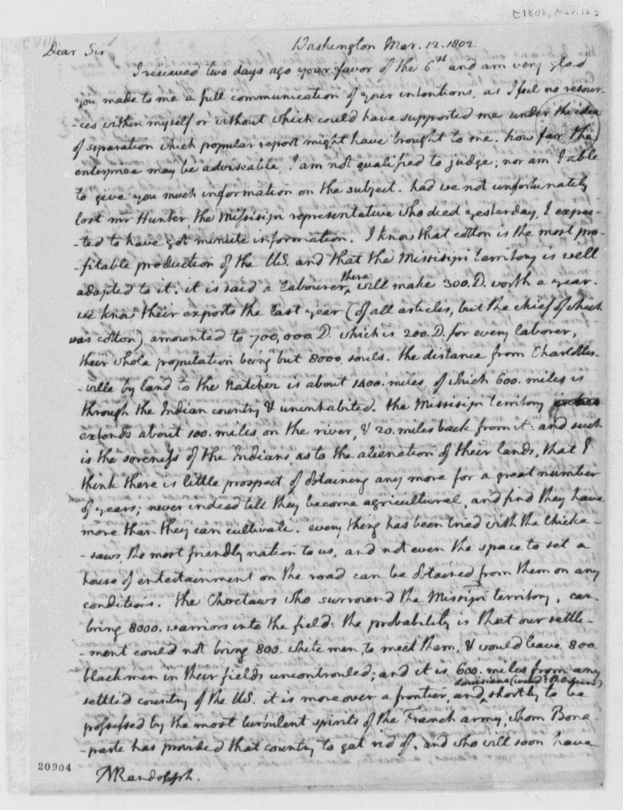 Thomas Jefferson to Thomas Mann Randolph, Jr., March 12, 1802