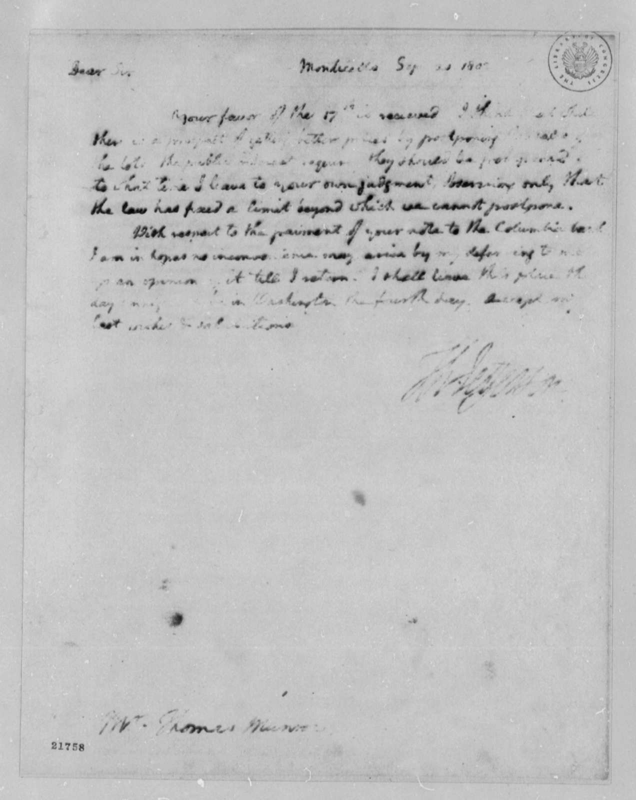 Thomas Jefferson to Thomas Munroe, September 20, 1802
