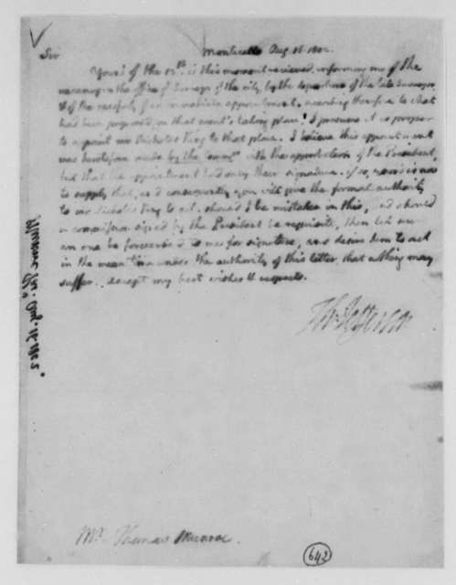 Thomas Jefferson to Thomas Munroe, Superintendent of the City, August 16, 1802, Faded Copy