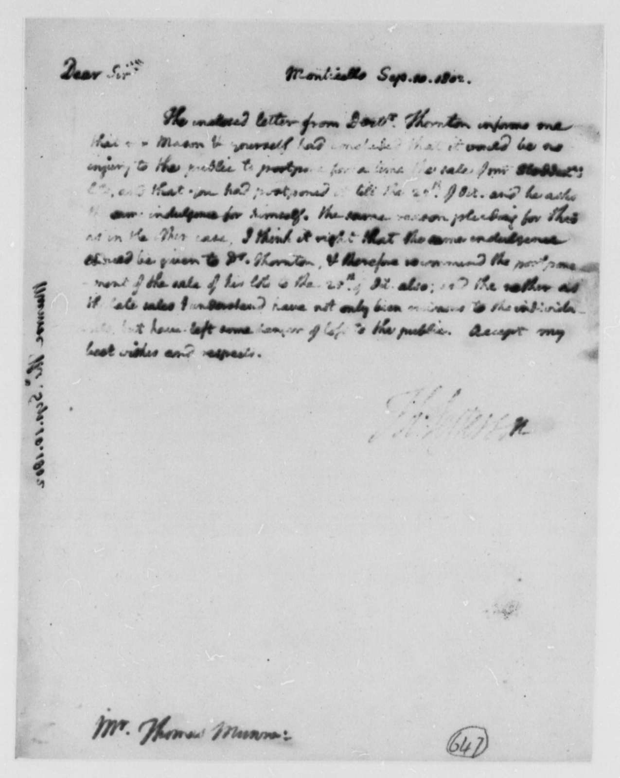 Thomas Jefferson to Thomas Munroe, Superintendent of the City, September 10, 1802