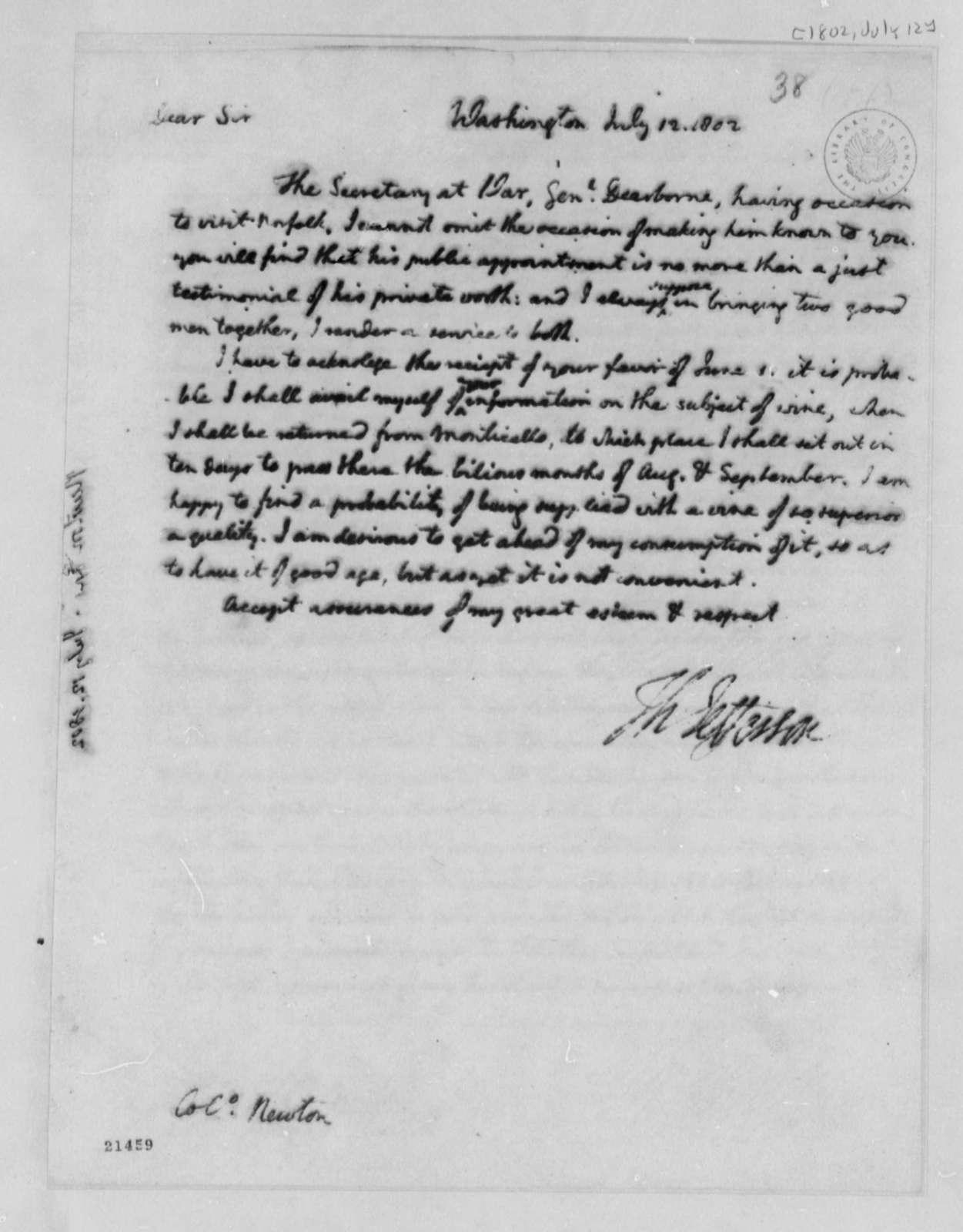 Thomas Jefferson to Thomas Newton, July 12, 1802