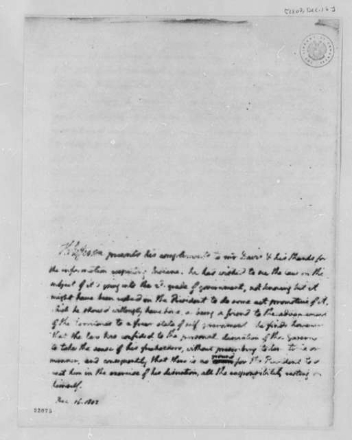 Thomas Jefferson to Thomas T. Davis, December 16, 1802