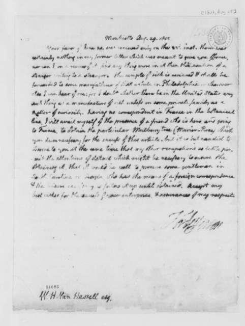 Thomas Jefferson to William H. van Hassel, August 29, 1802