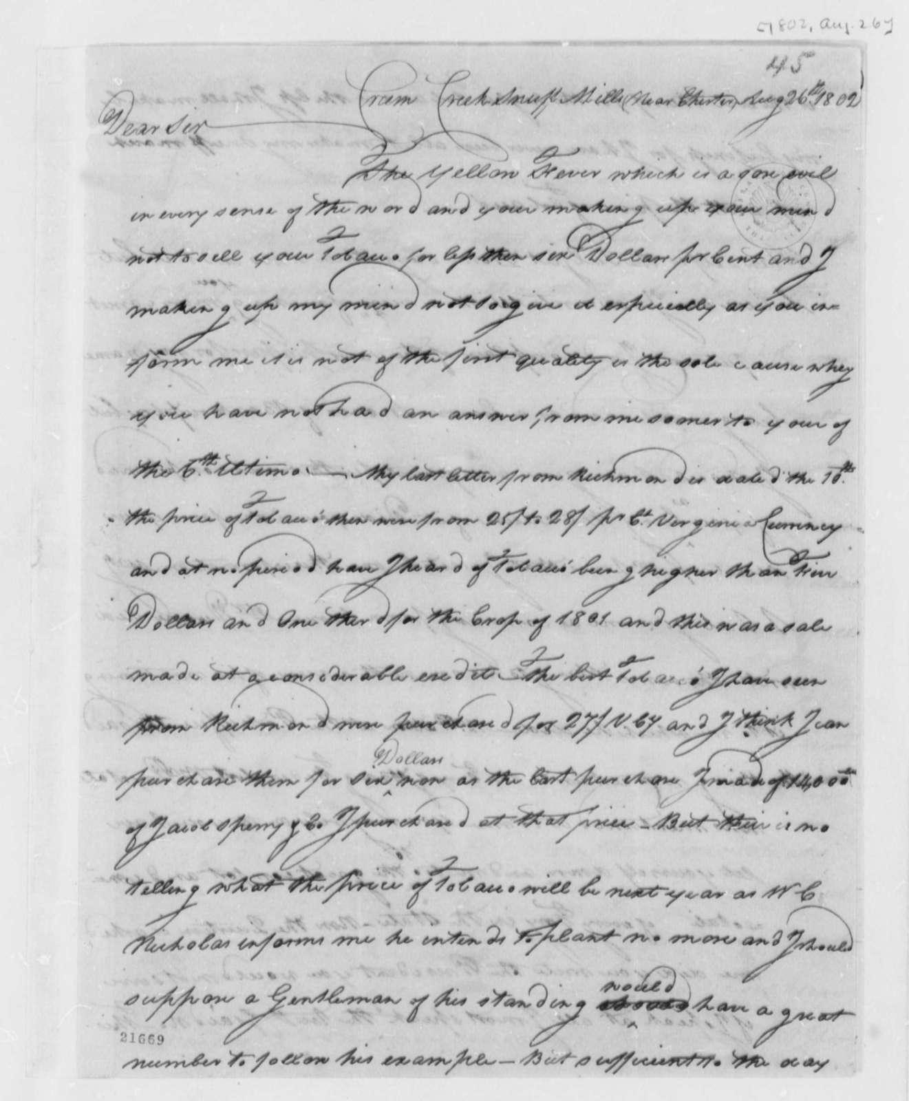 Thomas Leiper to Thomas Jefferson, August 26, 1802
