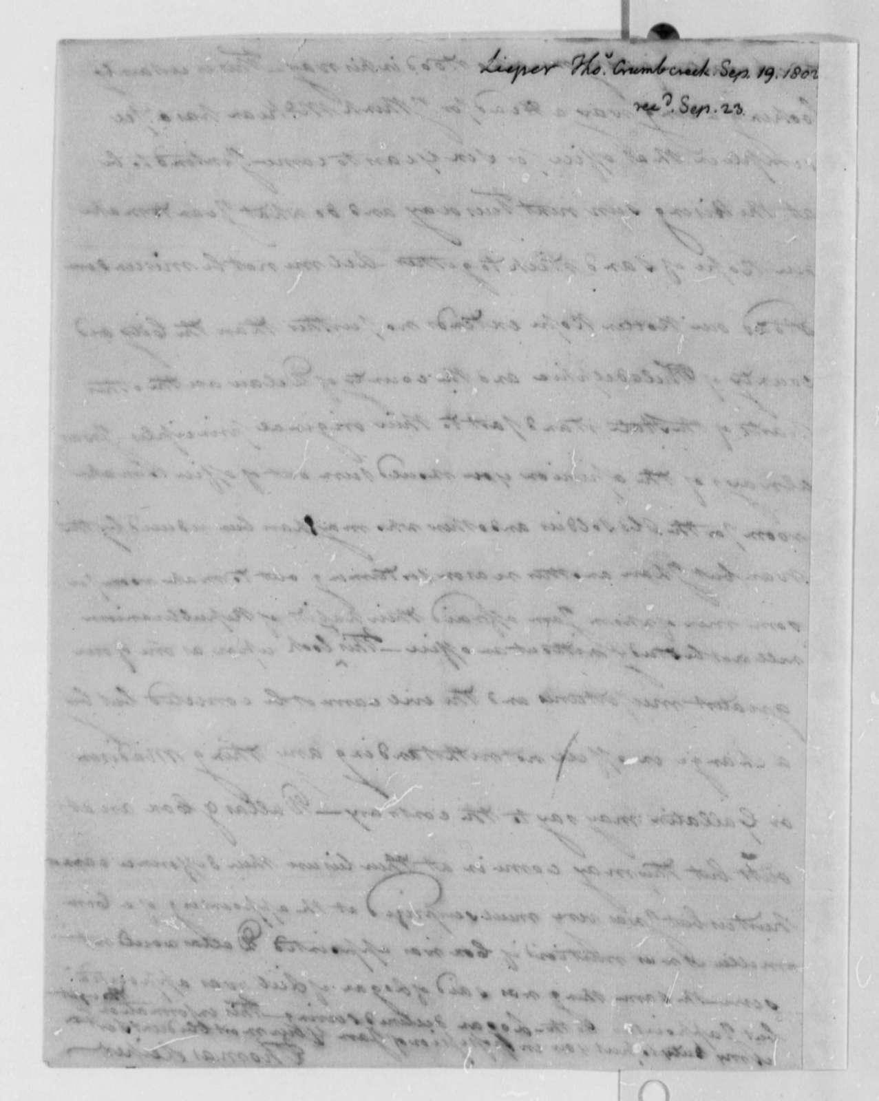 Thomas Leiper to Thomas Jefferson, September 19, 1802