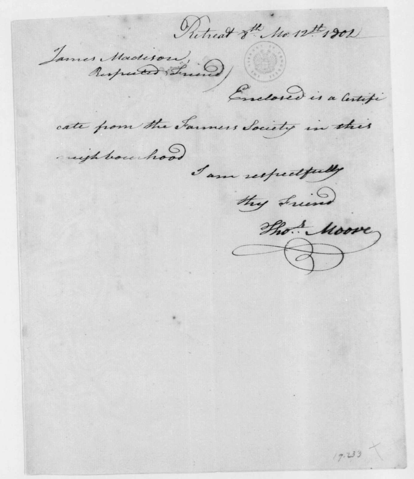 Thomas Moore to James Madison, August 12, 1802.