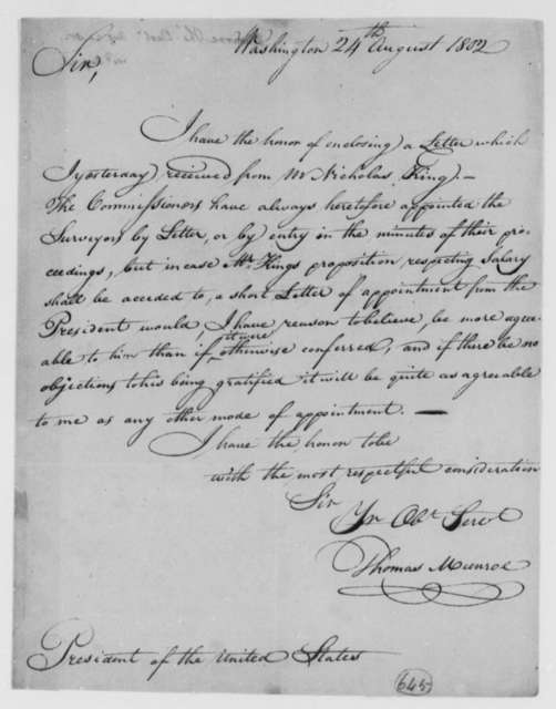 Thomas Munroe, Superintendent of the City to Thomas Jefferson, August 24, 1802
