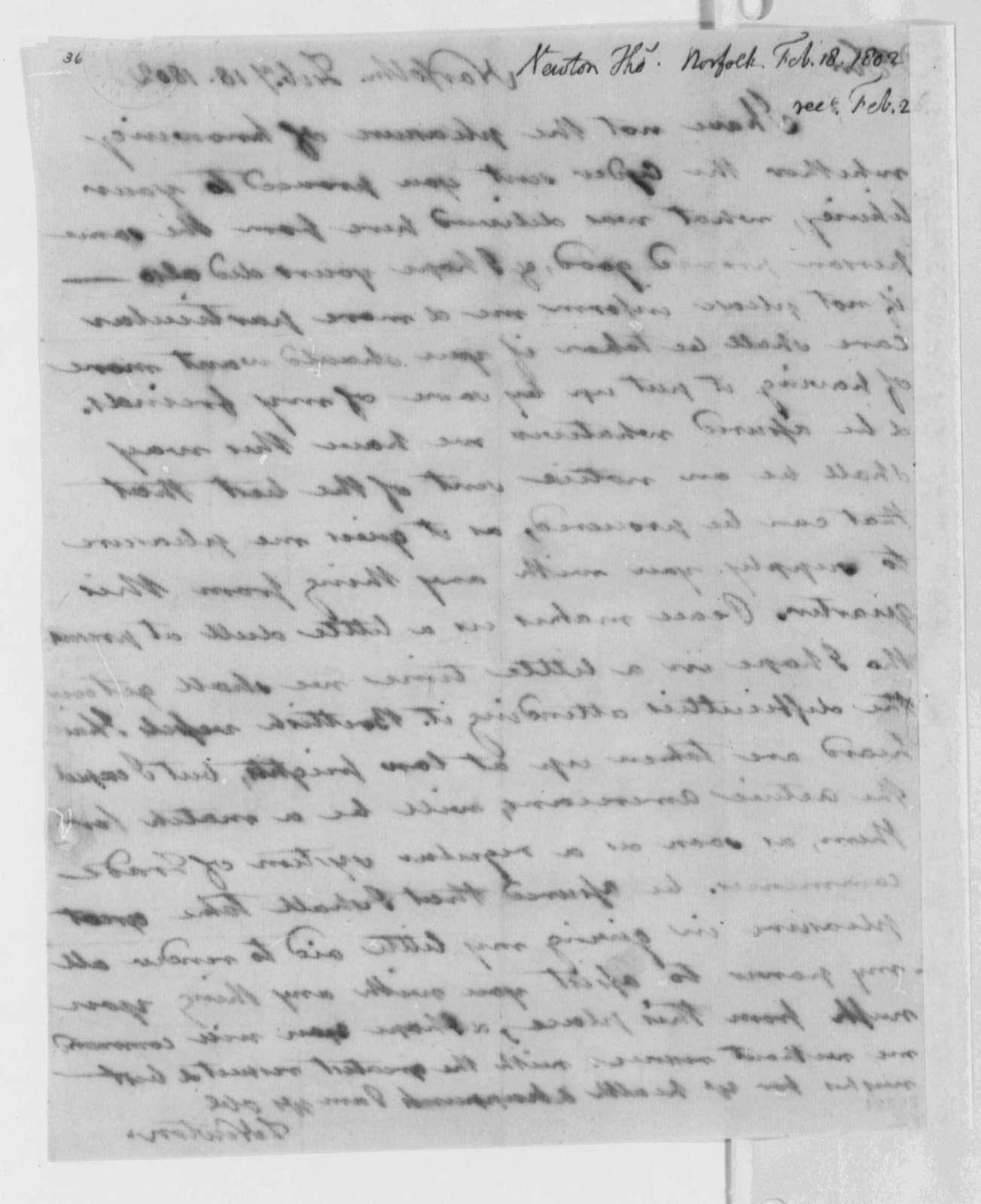 Thomas Newton to Thomas Jefferson, February 18, 1802
