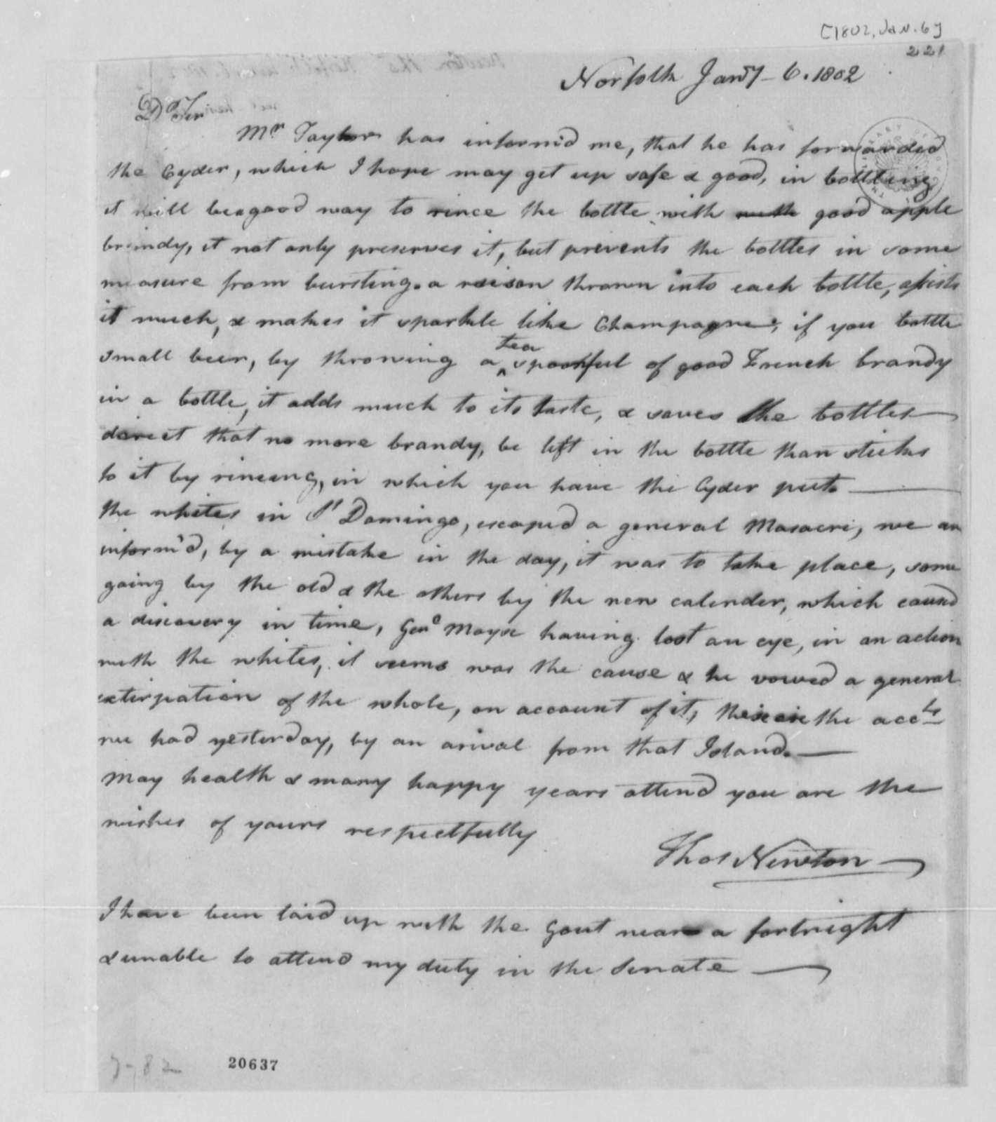Thomas Newton to Thomas Jefferson, January 6, 1802