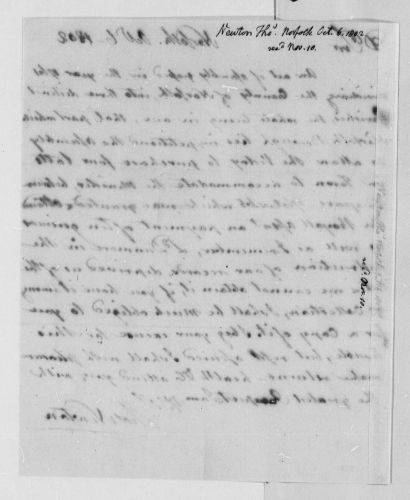 Thomas Newton to Thomas Jefferson, October 6, 1802