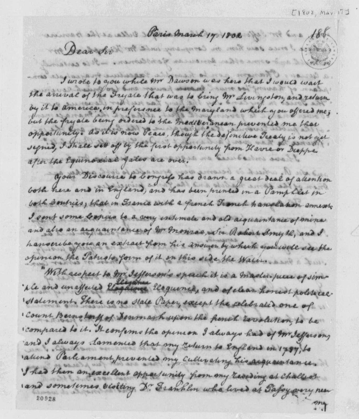 Thomas Paine to Thomas Jefferson, March 17, 1802