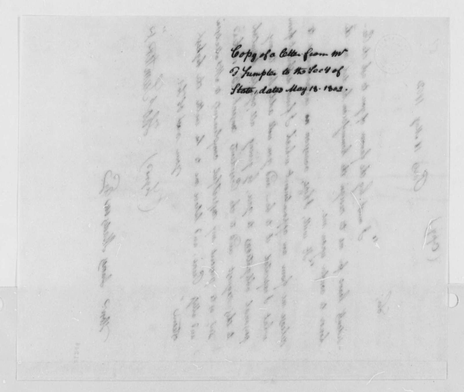 Thomas Sumter, Jr. to James Madison, May 18, 1802