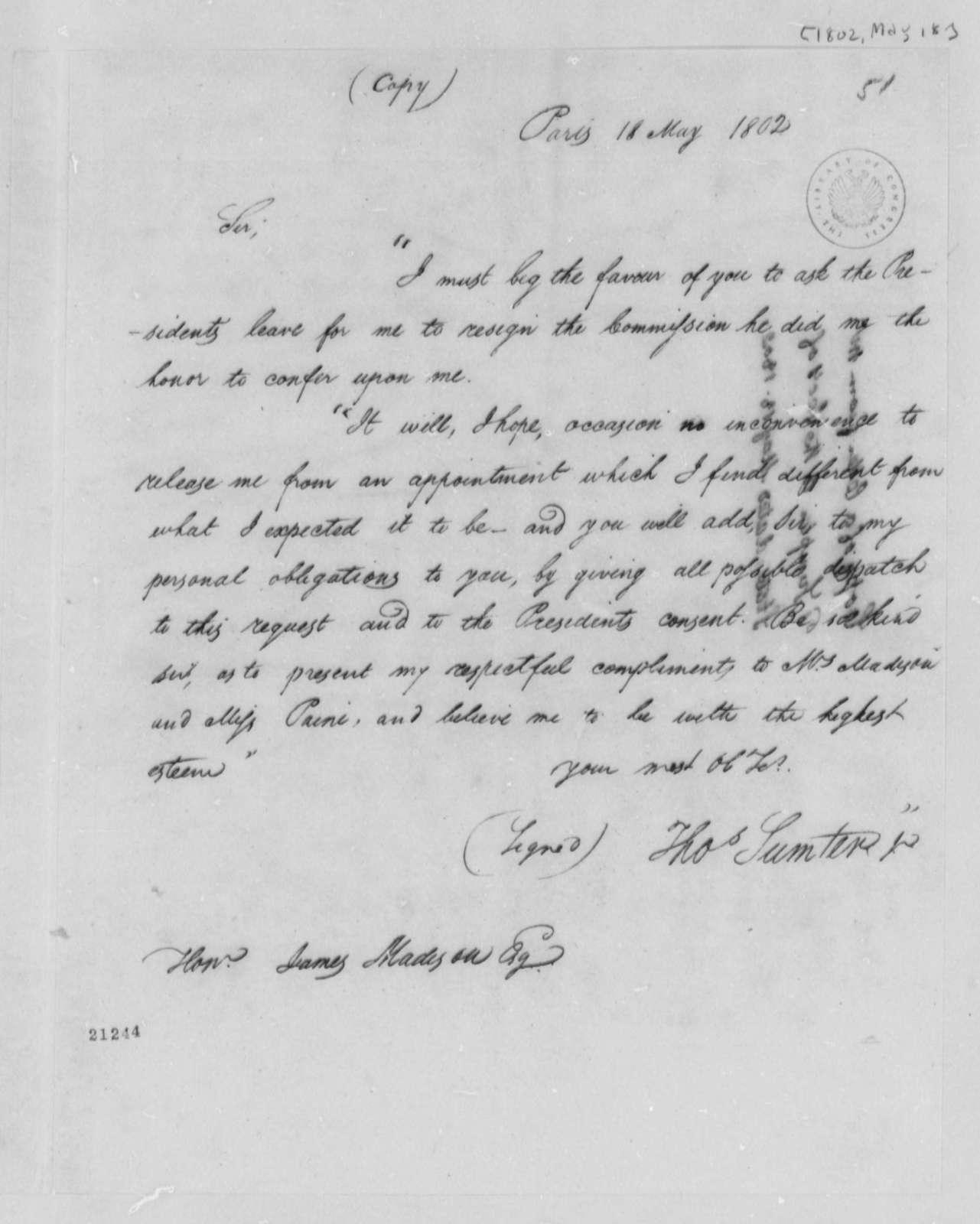 Thomas Sumter, Jr. to James Madison, May 18, 1802