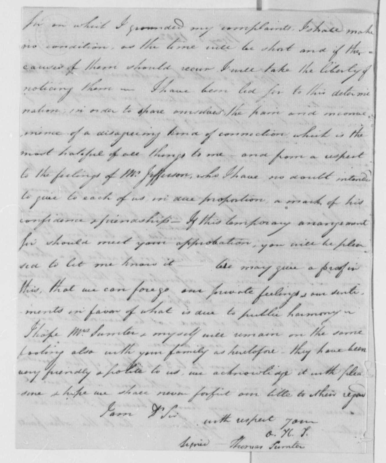 Thomas Sumter, Jr. to Robert R. Livingston, May 6, 1802