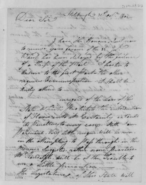 Thomas Sumter to Thomas Jefferson, October 31, 1802