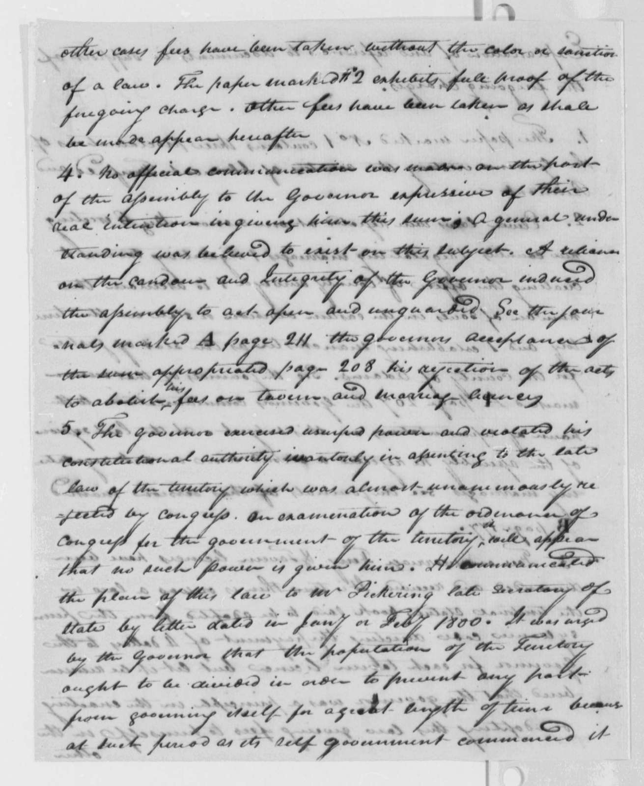 Thomas Worthington Arthur St. Clair, February 20, 1802, Charges and Explanation
