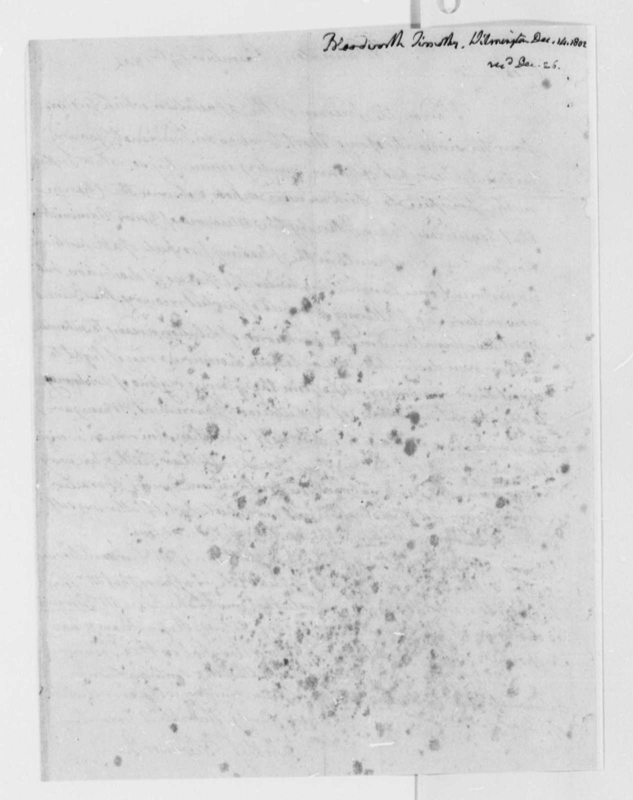 Timothy Bloodworth to Thomas Jefferson, December 14, 1802